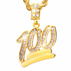 100 Emoji Necklace with Chain In Yellow Gold - Capital Bling Gold HipHop Jewelry