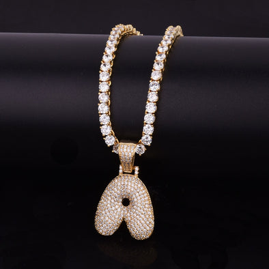 "14k Gold ""A"" Bubble Letter Necklace - Capital Bling Gold HipHop Jewelry"