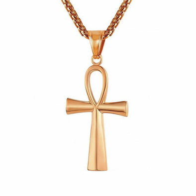 Yellow Gold Ankh Style Cross Necklace - Capital Bling Gold HipHop Jewelry