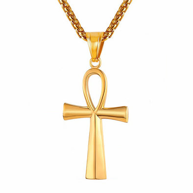Yellow Gold Egyptian Ankh Cross Necklace - Capital Bling Gold HipHop Jewelry