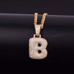 "14k Gold ""B"" Bubble Letter Necklace - Capital Bling Gold HipHop Jewelry"