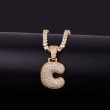 "14k Gold ""C"" Bubble Letter Necklace - Capital Bling Gold HipHop Jewelry"