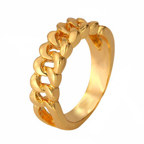 14k Gold Cuban Link Chain Ring - Capital Bling Gold HipHop Jewelry