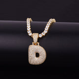 "14k Gold ""D"" Bubble Letter Necklace - Capital Bling Gold HipHop Jewelry"
