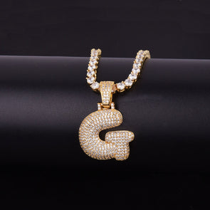"14k Gold ""G"" Bubble Letter Necklace - Capital Bling Gold HipHop Jewelry"