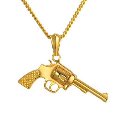 14k Gold Revolver Pendant with Chain - Capital Bling Gold HipHop Jewelry