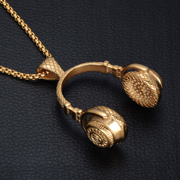 14k Gold Headphone Pendant (With Chain) - Capital Bling Gold HipHop Jewelry