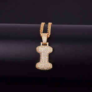 "14k Gold ""I"" Bubble Letter Necklace - Capital Bling Gold HipHop Jewelry"