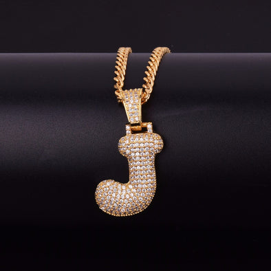 "14k Gold ""J"" Bubble Letter Necklace - Capital Bling Gold HipHop Jewelry"