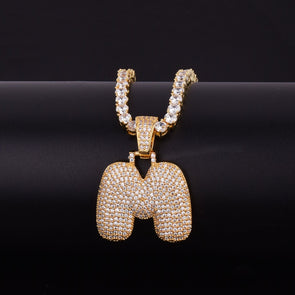 "14k Gold ""M"" Bubble Letter Necklace - Capital Bling Gold HipHop Jewelry"