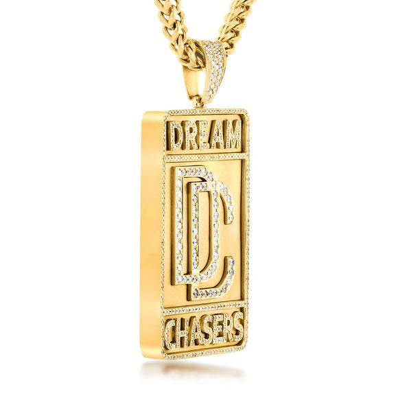 Dream Chaser's Chain Pendant in Yellow Gold - Capital Bling Gold HipHop Jewelry