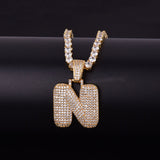 "14k Gold ""N"" Bubble Letter Necklace - Capital Bling Gold HipHop Jewelry"