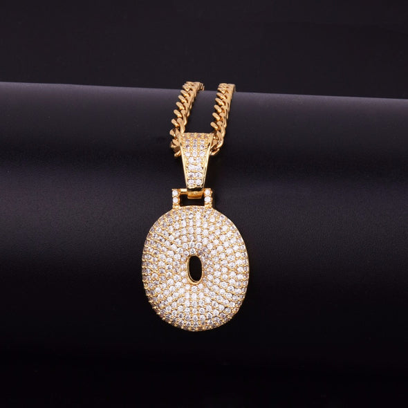 "14k Gold ""O"" Bubble Letter Necklace - Capital Bling Gold HipHop Jewelry"