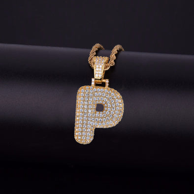"14k Gold ""P"" Bubble Letter Necklace - Capital Bling Gold HipHop Jewelry"