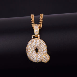 "14k Gold ""Q"" Bubble Letter Necklace - Capital Bling Gold HipHop Jewelry"