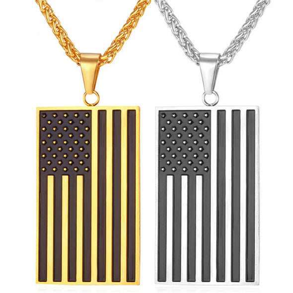 14k Yellow or White Gold American Flag Pendant Necklace - Capital Bling Gold HipHop Jewelry