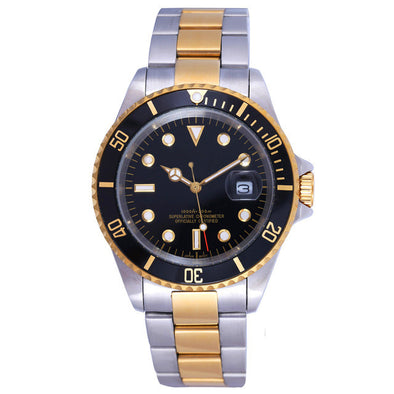 14k Gold & Stainless Steel Submariner Style Watch - Capital Bling Gold HipHop Jewelry