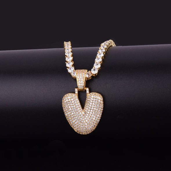 "14k Gold ""V"" Bubble Letter Necklace - Capital Bling Gold HipHop Jewelry"