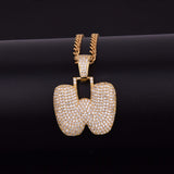 "14k Gold ""W"" Bubble Letter Necklace - Capital Bling Gold HipHop Jewelry"