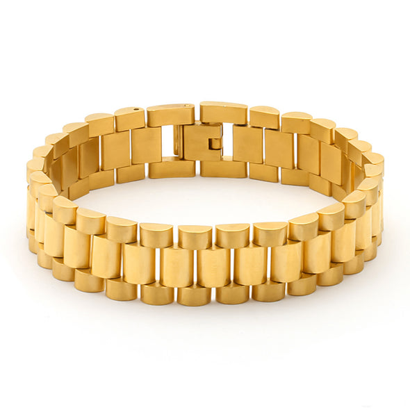 Watch Link Style Bracelet in Yellow Gold - Capital Bling Gold HipHop Jewelry