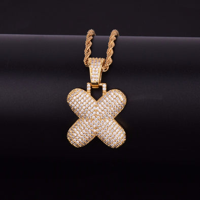 "14k Gold ""X"" Bubble Letter Necklace - Capital Bling Gold HipHop Jewelry"
