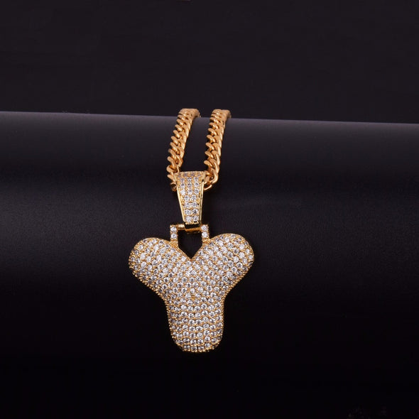 "14k Gold ""Y"" Bubble Letter Necklace - Capital Bling Gold HipHop Jewelry"