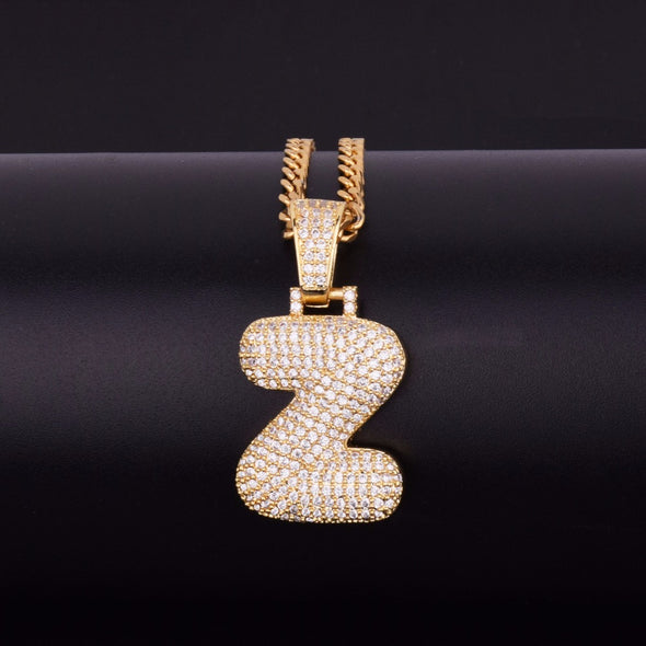 "14k Gold ""Z"" Bubble Letter Necklace - Capital Bling Gold HipHop Jewelry"
