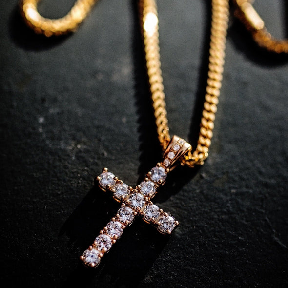 14k Diamond Cross Necklace - Capital Bling Gold HipHop Jewelry