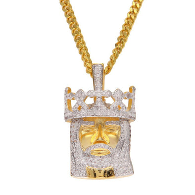 14k Yellow Gold King Jesus Piece Necklace (With Chain) - Capital Bling Gold HipHop Jewelry