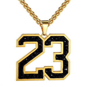 "18k Gold ""23"" Jordan Pendant (with Chain) - Capital Bling Gold HipHop Jewelry"