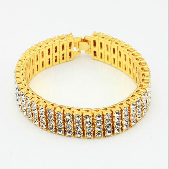 15mm Yellow Gold Four Row CZ Tennis Bracelet - Capital Bling Gold HipHop Jewelry
