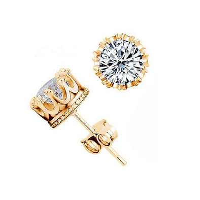 18k Gold 8mm CZ Crown Studs - Capital Bling Gold HipHop Jewelry