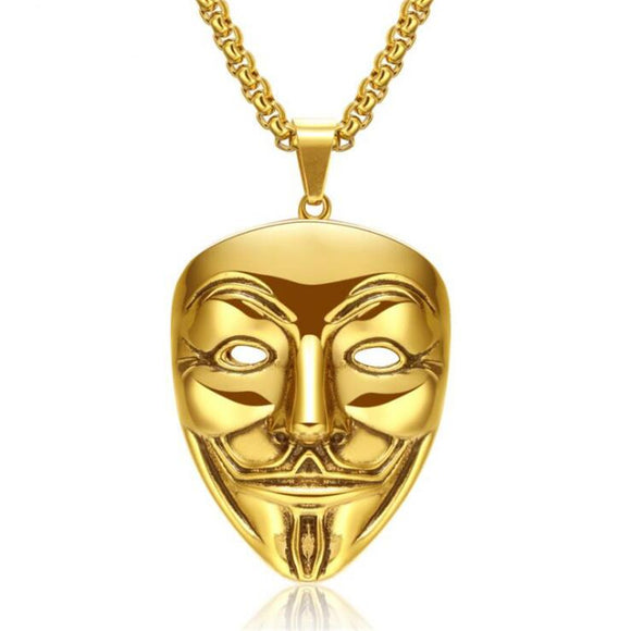 18k Gold Anonymous V for Vendetta Mask Pendant (with chain) - Capital Bling Gold HipHop Jewelry