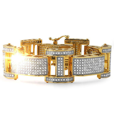 18k Gold Bar Diamond Bracelet - Capital Bling Gold HipHop Jewelry