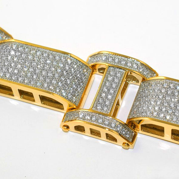 Diamond Flooded Bracelet in Yellow Gold - Capital Bling Gold HipHop Jewelry