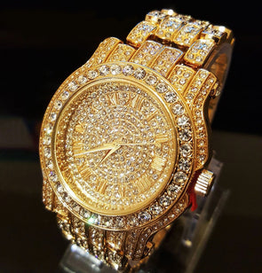 Diamond Flooded Bling Watch in Yellow Gold - Capital Bling Gold HipHop Jewelry