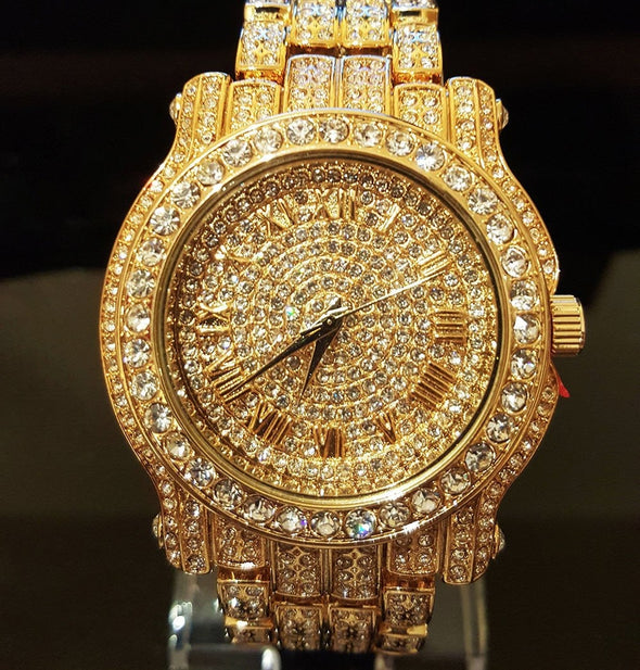 18k Gold / Rose Gold / Stainless Steel Iced Out Bling Watch - Capital Bling Gold HipHop Jewelry