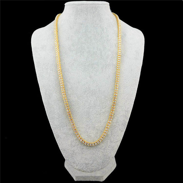 Diamond Tennis Chain (Single Row) in Yellow Gold - Capital Bling Gold HipHop Jewelry