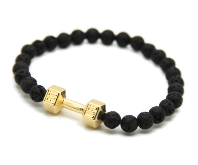 18k Gold #FitLife Dumbbell Bead Bracelet - Capital Bling Gold HipHop Jewelry