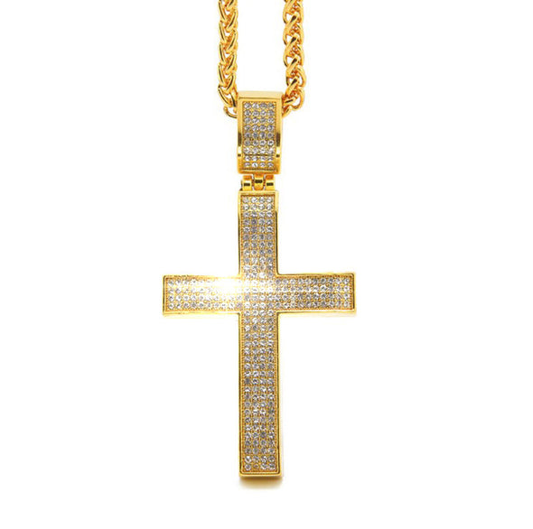 14k Gold Iced Out Cross with Franco Chain - Capital Bling Gold HipHop Jewelry