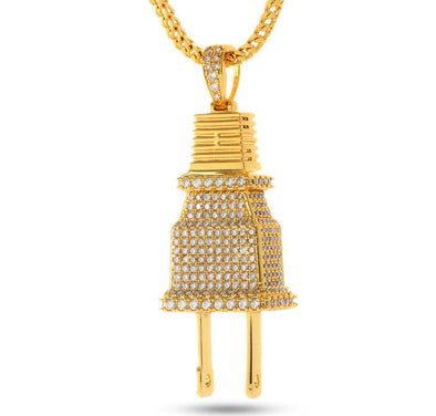 Diamond Plug Pendant in Yellow Gold - Capital Bling Gold HipHop Jewelry