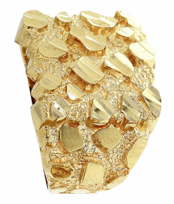 14k Gold Nugget Style Ring - Capital Bling Gold HipHop Jewelry