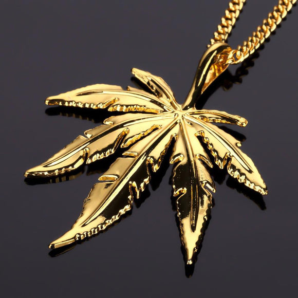 18k Gold Pot Leaf Pendant (With Chain)-Pendant--Capital Bling