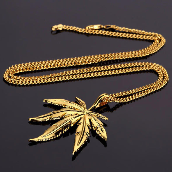 14k Gold Pot Leaf Pendant (With Chain) - Capital Bling Gold HipHop Jewelry