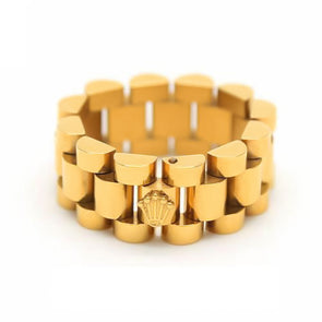 14k Gold Watch Band Link Ring - Capital Bling Gold HipHop Jewelry