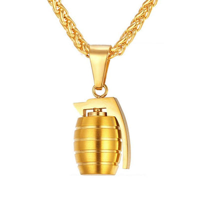 18k Gold Grenade Pendant (With Chain) - Capital Bling Gold HipHop Jewelry