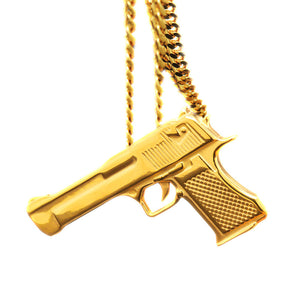 18k Pistol Gun Pendant (with chain) - Capital Bling Gold HipHop Jewelry