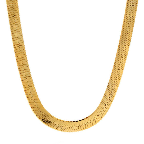 12mm Yellow Gold Herringbone Chain 24 Inch - Capital Bling Gold HipHop Jewelry