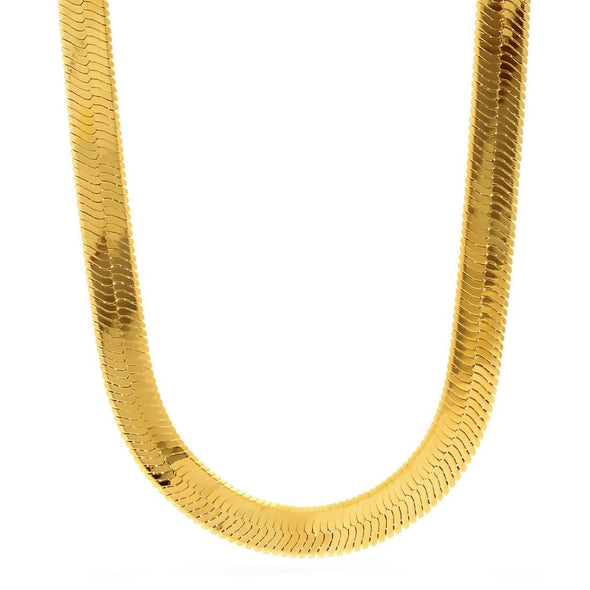8mm Yellow Gold Herringbone Chain 24 Inch - Capital Bling Gold HipHop Jewelry