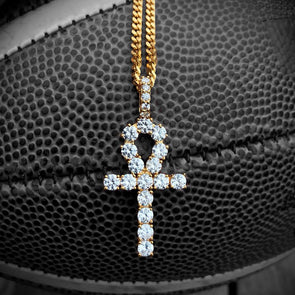 Diamond Ankh Cross in Yellow Gold - Capital Bling Gold HipHop Jewelry